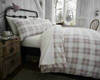 100% Brushed Cotton Check Duvet Cover Set Pink & Cream King Bed Size