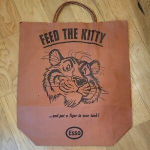 Vintage Esso Oil Co Feed The Kitty Bag W/ Handles Tiger In Tank Old Store Stock