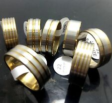 Fashion Rings Wholesale Jewelry Job lot 50pcs Gold Mix Stainless Steel Rings Men