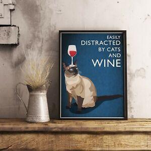 Cat And Wine Poster, Cat Poster, Cat Print, Animal Poster, Animal Print