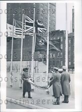 1954 United Nations Guards Lower Flags NYC Press Photo