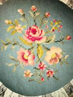 "VTG 20"" Square Rose Bouquet Floral Handmade Needlepoint Pillow Damask Blue Tan"