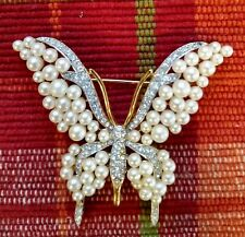 Vintage Crown Trifari Alfred Philippe Pearl Butterfly Brooch