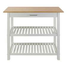 Casual Home Kitchen Island Bar Station with Hardwood Counter and Storage, White