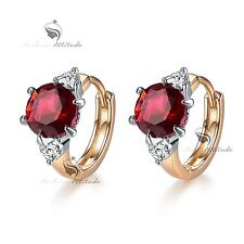 18k white yellow gold gf made with Swarovski crystal huggies earrings rose red