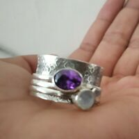 Moonstone Spinner Ring,925 Sterling Silver Wide Band Ring Handmade All Size P-15