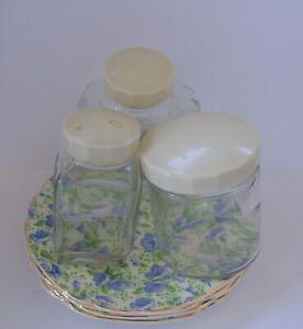 Vintage Brexton Picnic Set Jars and Four Pretty China Plates