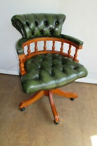 Green Leather Chesterfield Style Swivel Captains Chair. Desk Also Available.