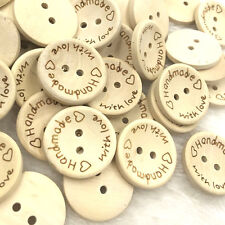 100 pcs Handmade Wood Buttons 15mm Sewing Craft Mix Lots  WB389