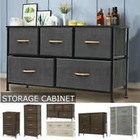 3-7 Drawers Fabric Dresser Bedside End Table Nightstand Bedroom Storage Tower US
