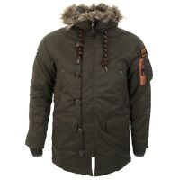 Superdry MicroFibre Mens Parka Jacket SD-3 Green Dark Army Ship Worldwide