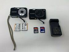 Lot of 2 Fujifilm FinePix JV200 & JX520 14.0MP Digital Camera  & Charger - Black