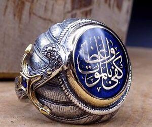 Turkish Handmade 925 sterling silver SPECİAL İslamic  Sapphire Men's Ring Sz 11