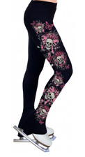 Ny2 Sportswear Black printed skulls and butterflies Ice skate pant ,Adult Xs Nwt
