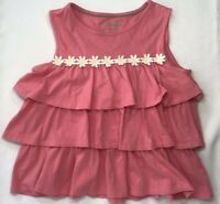Mini Boden Girl's 7-8 Years Pink Tiered Ruffle Top with Daisy Trim