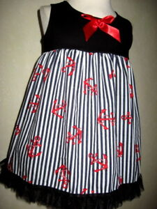 Sailor striped Dress Baby Girls Black White Blue Red Party Birthday Gift Holiday