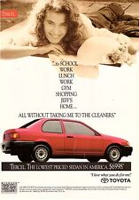 1991 Toyota Tercel Red Car Automobile Sexy Woman Lady Vintage Print Ad 1990s