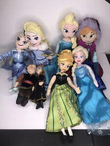 Disney Frozen Anna Elsa Kristof Rag Doll Set of 8 Plush Stuffed