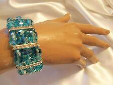 SKY BLUE Aurora Borealis Crystal Silvertone/Rhinestone Stretch Bracelet LA2B131