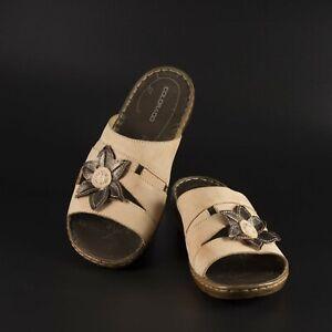 Colorado Sz 39 tan brown leather slides sandal 4cm heel size 8 flat mules casual