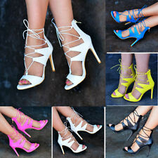 Casual Textured Lace-up Heels for Women