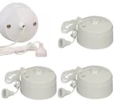 3 Pack Pifco 6Amp Ceiling Pull Cord Switch 1 Way Bathroom/Toilet Light Switches
