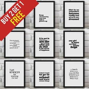 Peter Pan Book Quotes Framed Wall Art Nursery Décor Typography Bedroom Print