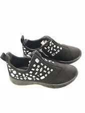 Rhinestone Side Zip Women's Sneakers Black Size 12