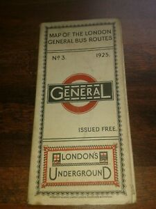 TRULY RARE GENUINE No.3 1925 LONDONS UNDERGROUND MAP OF THE GENERAL BUS ROUTES