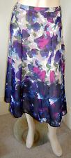 COLDWATER CREEK Semi-Sheer Purple Floral Contoured/Gored Full Skirt (M)