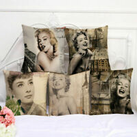 "Cover 18"" Case Linen Marilyn&Audrey Pillow Square Bed Cotton Home Car Throw"