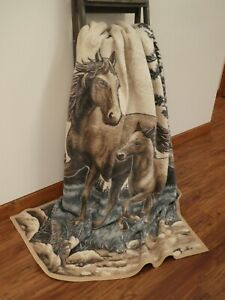 IBENA  Horse Lover Woven Brown Cotton Blend Throw Blanket Mare and Foal