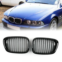 Front Fence Grill Grille ABS Gloss Black Mesh For 2001-04 BMW 5-Series E39 AU5