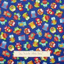 Forest Fabric - Organic Cotton Rainbow Owl Toss Blue - Timeless Treasures YARD