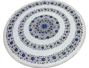 Marble Dining Table Top Inlay Coffee Table with Lapis Lazuli Stone Art 36 Inches