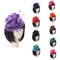 Wedding Women Fascinator Penny Mesh Hat Ribbons And Feathers Solid Hat Hair Clip