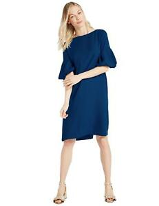 Marks & Spencer Prussian Blue Crepe Shift Dress with Feature Sleeves