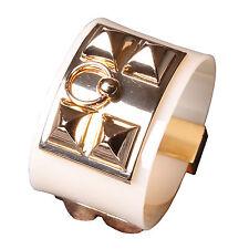 Rockstud Wide Slake Wrap Bracelet Gold Plated Buckle Closure Bangle Cream