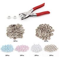 200pc Press Stud Snap Fasteners Prong Pliers Ring Set 9.5mm Metal DIY Tool Kit