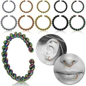 Fake Piercing Fakeplug Cord Rope Lip Nose Helix Septum Earring Stainless Steel