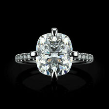Cushion Cut 2Ct Engagement 14K White Gold Over Diamond Solitaire Ring