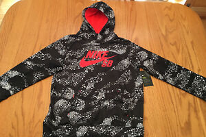 NEW NIKE Boys Youth XL SB Skateboard Hoodie Jacket Black White Orange