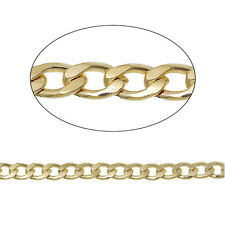 3.28ft Gold Plated Findings Beveled Curb Link opened Chains Jewelry making P2