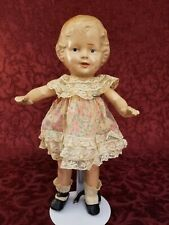 Antique All Composition Doll Painted & Molded Features 11in. Project Darling