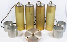 4 Vintage Mid Century Yellow Glass Chrome Tube Light Lamp Hanging Chandelier