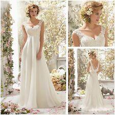 2018 New White/Ivory Chiffon Wedding Dress Bridal Gown Size 6 8 10 12 14 16 18