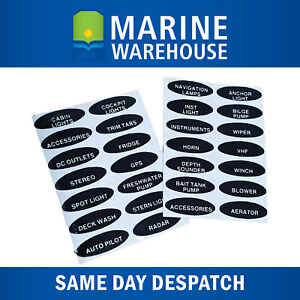 SET OVAL SWITCH PANEL LABELS - Boat/Marine switchboard stickers ( 28 Stickers )