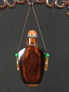 Chinese Bamboo Knot Carved Brown Peking Glass Pendant Snuff Bottle