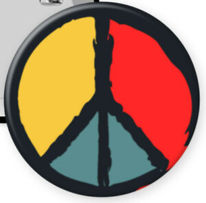 """PAINTED PEACE SIGNS - 2.25"""" Button w/ Ceramic Magnet - NEW"""