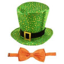 St Patrick's Day Novelty Fancy Dress Leprechaun Shamrock Pattern Hat & Bow Tie